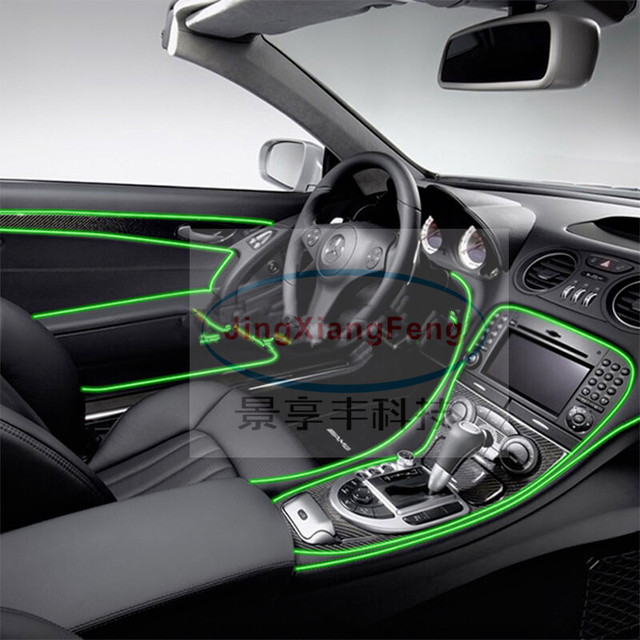 JingXiangFeng Auto Car Interior LED EL Wire Rope Tube Line Flexible Neon  Light Glow El Salon