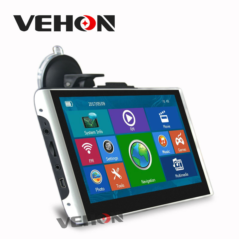 VEHON 7 inch Car Gps Navigation 8GB 256M FM Map Free Upgrade Navitel Europe Sat nav Truck gps navigators beling g710a car gps navigation with av in 7 in touch screen wince 6 0 8gb vehicle navigator fm sat map mp4 sat nav automobiles