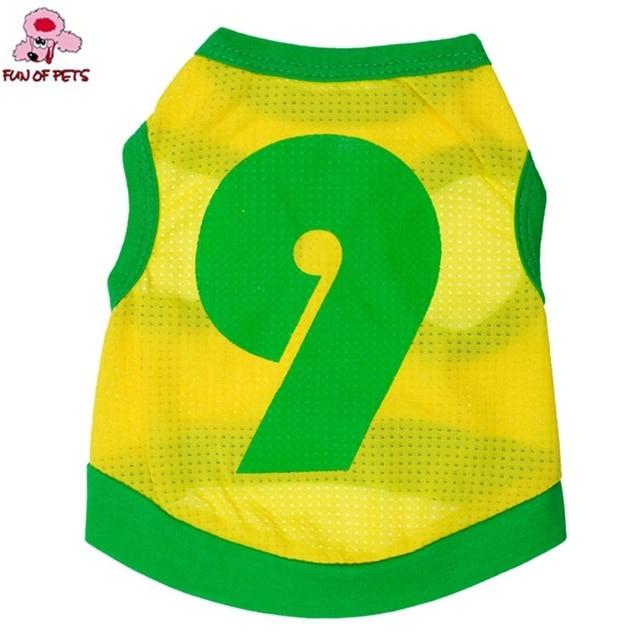 2017 nueva moda del estilo del deporte amarillo no. 9 deportes Jersey chaleco ropa para perros Teddy primavera y verano para mascotas perros