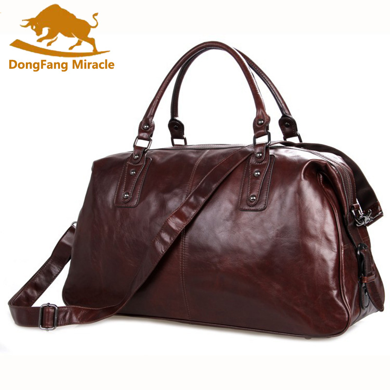 DongFang Miracle Cow Leather Travel Bag For Men 20 Hand Luggage Overnight Weekender Duffle Large Brown maletin de viaje