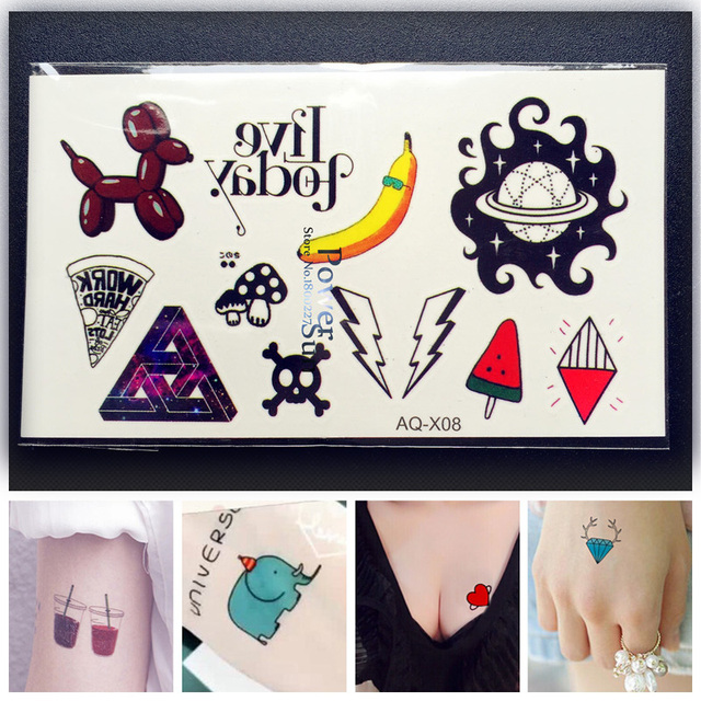1PC Kawaii Children South Korea Fresh Temporary Tattoo Sticker Kids PAQ-X08 Banana Skull Dog Ice Cream Japan Flash Tattoo Paste