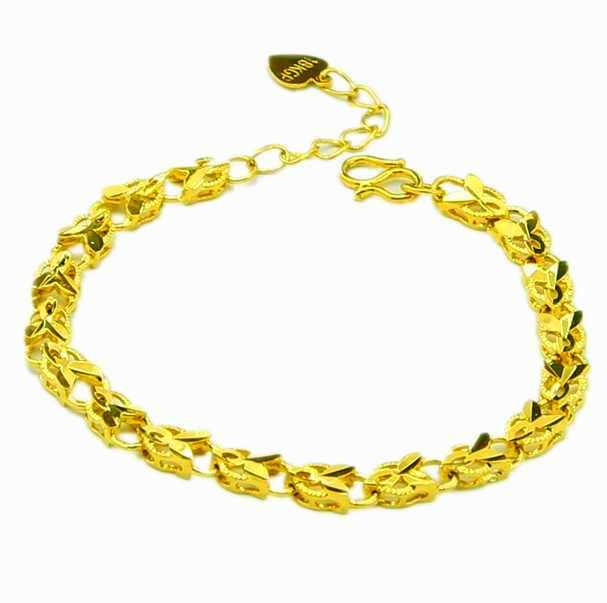 Nouveauté mode 24K GP couleur or hommes bijoux Bracelet or jaune Bracelet en or Bracelet vente chaude YHDH036