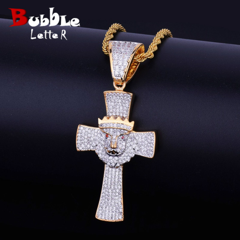 Aliexpress Com Buy Iced Religious Cross With Lion Head