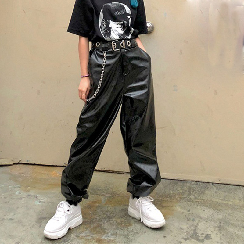 Loose Leather   Pants   With Chain Women'S   Wide     Leg     Pants   2018 Autumn Zipper Streetwear Hip Hop Elastic Waist Trousers Female