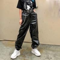 Loose Leather Pants With Chain Women'S Wide Leg Pants 2018 Autumn Zipper Streetwear Hip Hop Elastic Waist Trousers Female