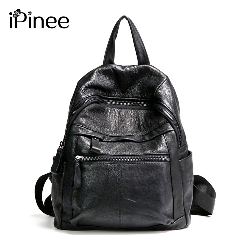 iPinee Backpack Women Cow Leather Backpacks For Girls Genuine Leather School Bags Casual Knapsack Large Travel