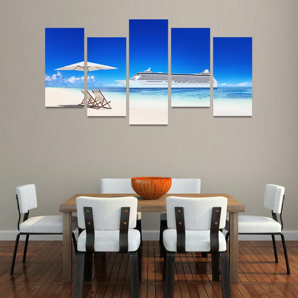 Kumsal duvar boyas rengi ile modern ve k ev dekorasyonu - 5 Paneller I In Tuval Zerine Bask Beyaz Emsiye Sandalyeler Beyaz Plaj Boyama Oturma Odas Duvar Sanat Resim Ev Dekorasyon Tm