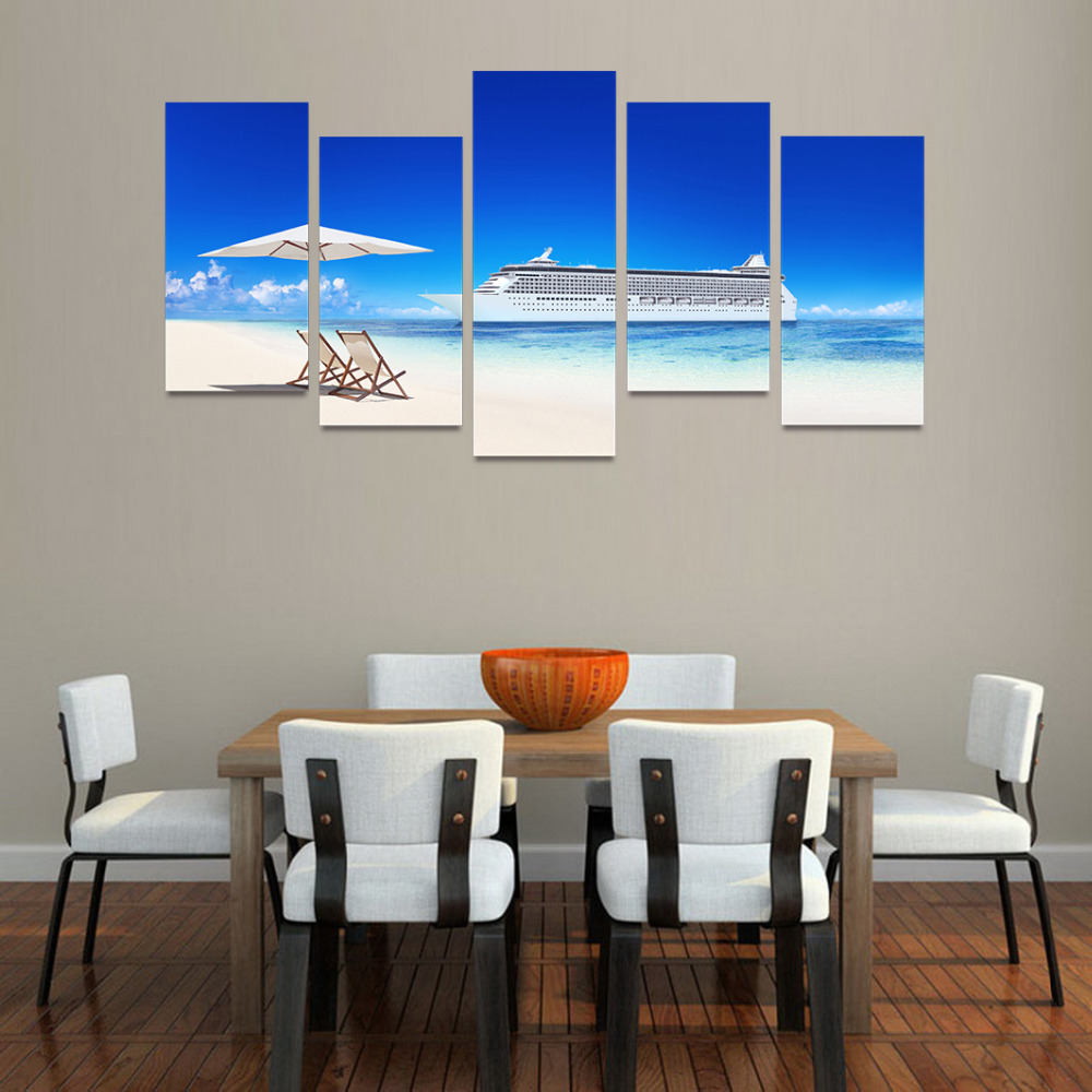 Beach chair with umbrella painting - 5 Panels Canvas Print White Umbrella Chairs On White Beach Painting For Living Room Wall Art