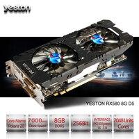 Yeston Radeon RX 580 GPU 8 ГБ GDDR5 256bit игровой настольный компьютер PC Видео видеокарты Поддержка DVI/HDMI PCI E X16 3,0