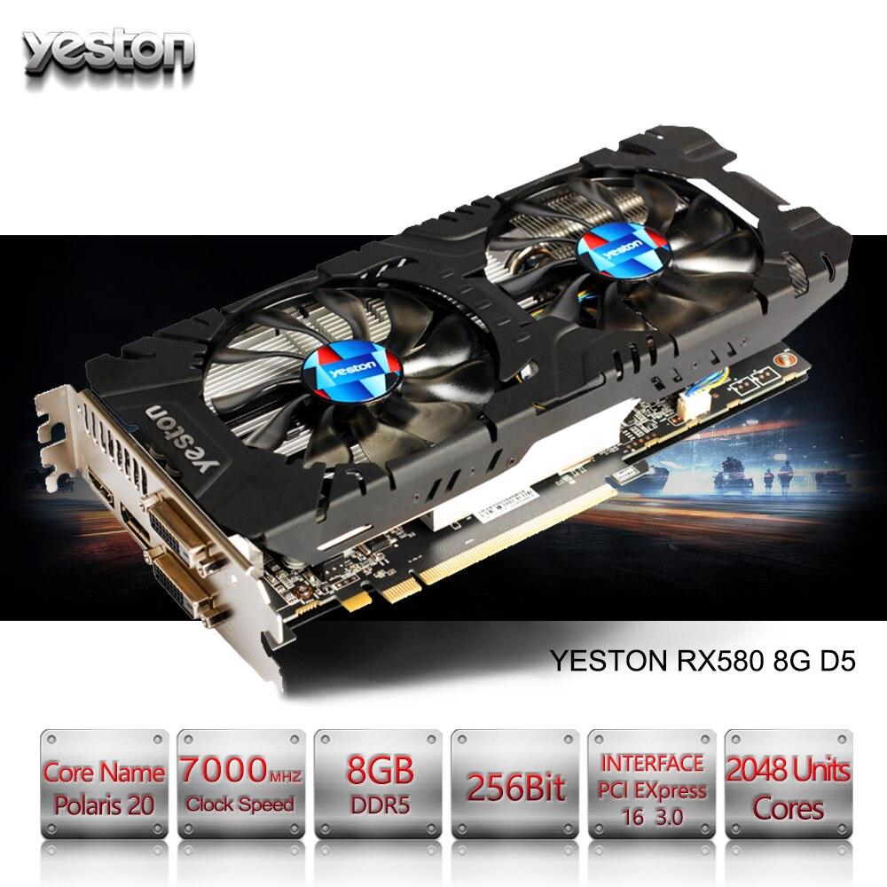 Yeston Radeon RX 580 GPU 8 gb GDDR5 256bit Jeux d'ordinateur De Bureau PC Vidéo Cartes Graphiques soutien DVI/HDMI PCI-E X16 3.0