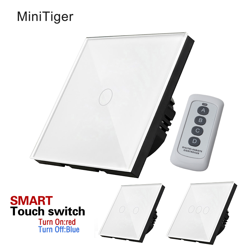 Estándar de la UE interruptor de pantalla táctil de luz de pared, Panel de cristal blanco, 170 ~ 250 V + indicador LED, control remoto de pared Interruptor táctil