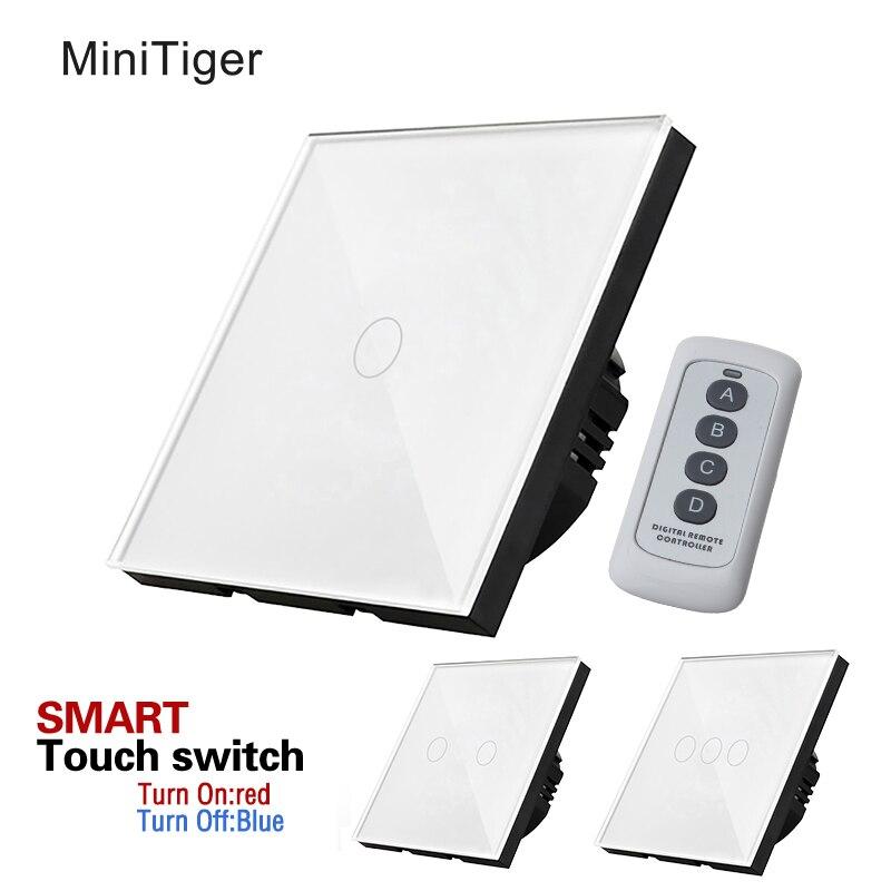 L'UE Standard Mur Light Touch Écran Switch, Panneau Verre Cristal Blanc, 170 ~ 250 v + Indicateur LED, télécommande Mur tactile commutateur