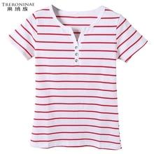 TRERONINAE Women 2017 summer female t-shirt cotton tee shirts v-neck top sexy casual plus size short sleeve striped Undershirt