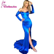 Mermaid Evening Dresses 2019 Long Sleeves Satin Party Royal Blue Graduation Formal Dress Robe De Soiree