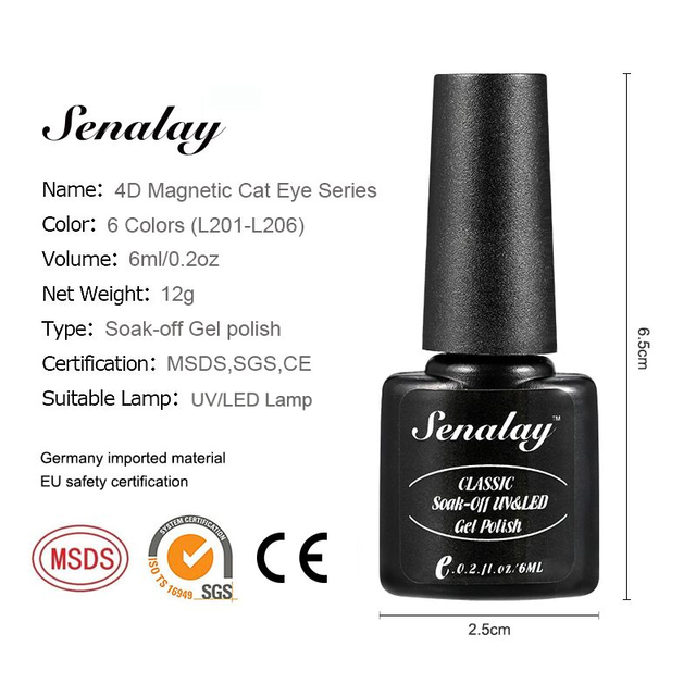 Senalay 4D Cat Eyes Magnet 6ML Nail Gel Polish Hybrid Primer Foundation Gel Polish Magnet Semi Permanent Varnishes For Nails 2