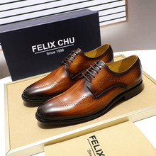 European Style Genuine Leather Men Oxfords Derby Shoes Wedding Party Office Dress Shoes Men High Quality Black Brown Mens Shoes цена 2017
