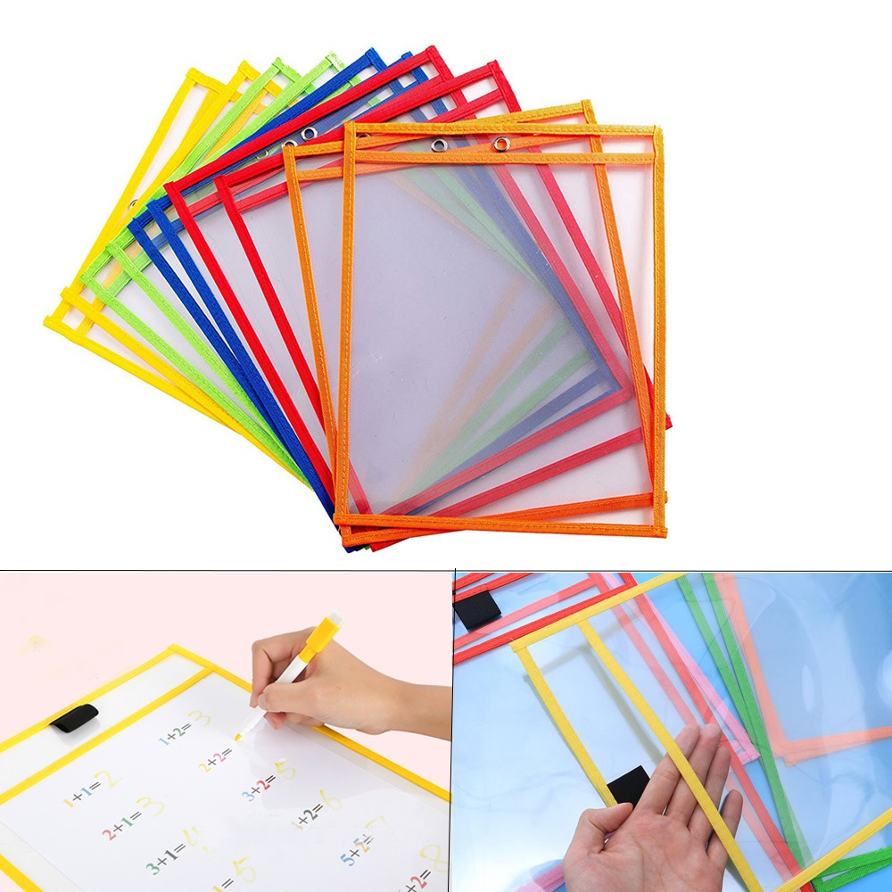 1Pcs Reusable Dry Erasable Pockets Transparent Write And Wipe Drawing Board Dry Brush Bag File Pocket For Teaching Kids Pastels