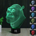 HY Shrek 3D Remote LED Night Light Touch Table Desk Lamp 7 Color Change USB LED Charger Gift Multifunction Card