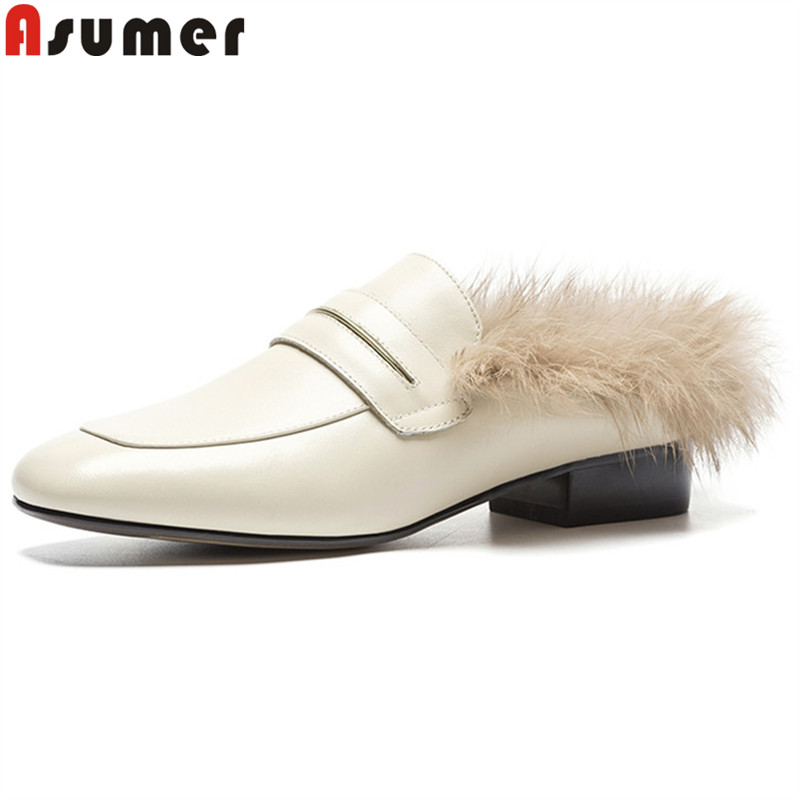 ASUMER 2018 fashion autumn winter shoes woman square toe genuine leather shoes shallow casual mules low heels ladies shoes asumer black gray beige fashion spring autumn shoes woman round toe shallow casual square heel shallow flock low heels shoes