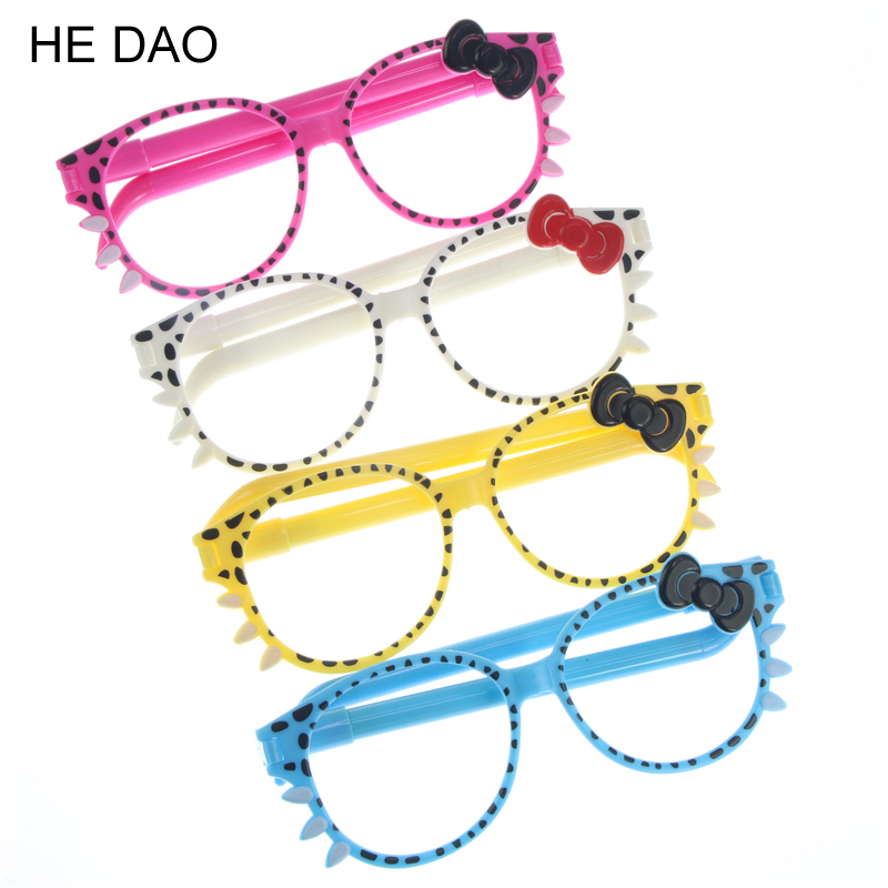 4 Pcs / Lot Promotional Pen Fashion Frame Cute Kittens Bowknot Creative Cartoon Ballpoint Pen Glasses For School Stationery