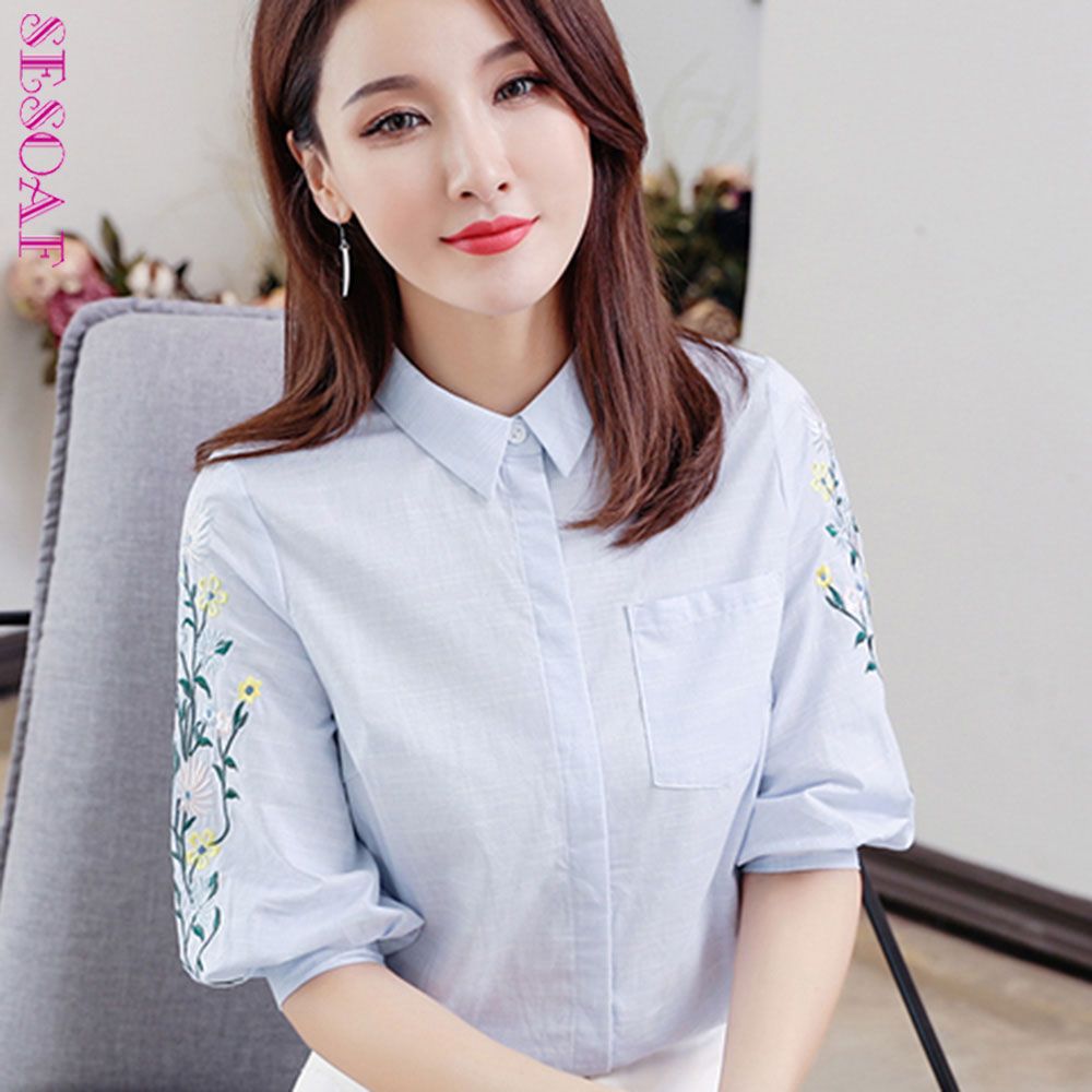 SESOAF Korean Summer Blue Office Ladies Embroidery Blouses Summer Tops For Women 2018 Elegant Cloth New Fashion