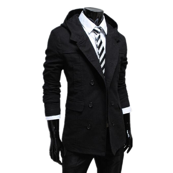 Men Black Double Breasted Hooded Medieval Gothic Military ...   Mens Trench Coat With Hood