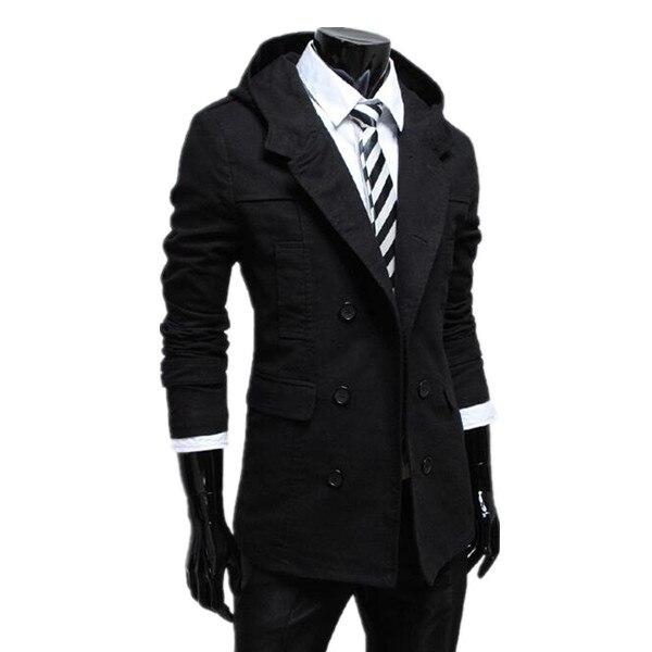 cachi Casual Cappuccio Modo Coat Con Nero Petto 2015 Solid Caldo Di Blue  Trench Il Slim Design Uomini E Autunno Inverno ... a4cc4f7d764