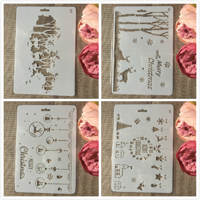 4Pcs A4 26cm Christmas Forest Deer DIY Craft Layering Stencils Painting Scrapbooking Stamping Embossing Album Paper Template