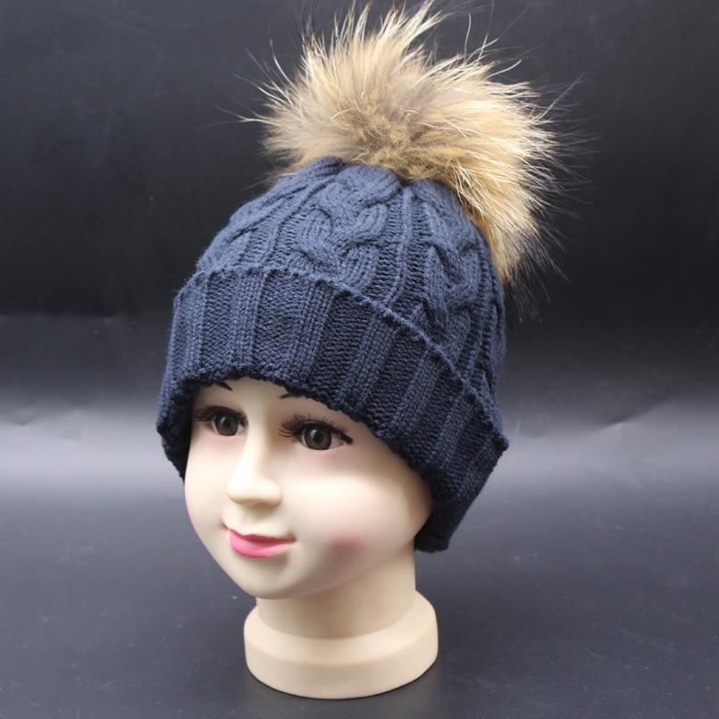 Bebek Kış Şapka Gerçek Kürk Ponpon Çocuk Beanie Çocuk Büküm - Elbise aksesuarları - Fotoğraf 2