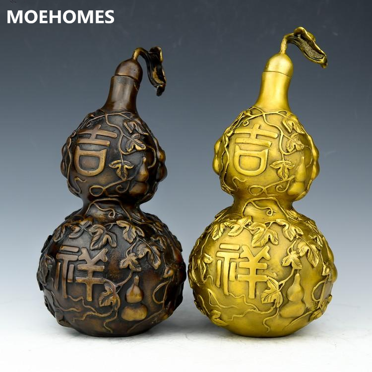 MOEHOMES Boutique archaize of copper gourd Good luck and peace fengshui geomancy statue family decoration gifts metal craftsMOEHOMES Boutique archaize of copper gourd Good luck and peace fengshui geomancy statue family decoration gifts metal crafts