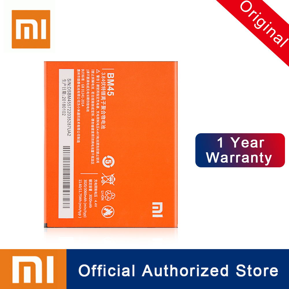 Xiao Mi BM45 Original Battery For Xiaomi Mi Redmi Note 2 Redmi Note2 High Capacity Replacement Rechargeable Phone Batteria