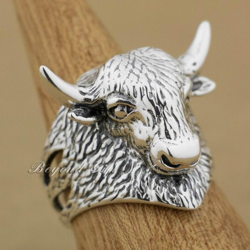 LINSION 925 Sterling Silver Bull Cow Tibetan Yak Mens Biker Punk Ring 9Q009 цена