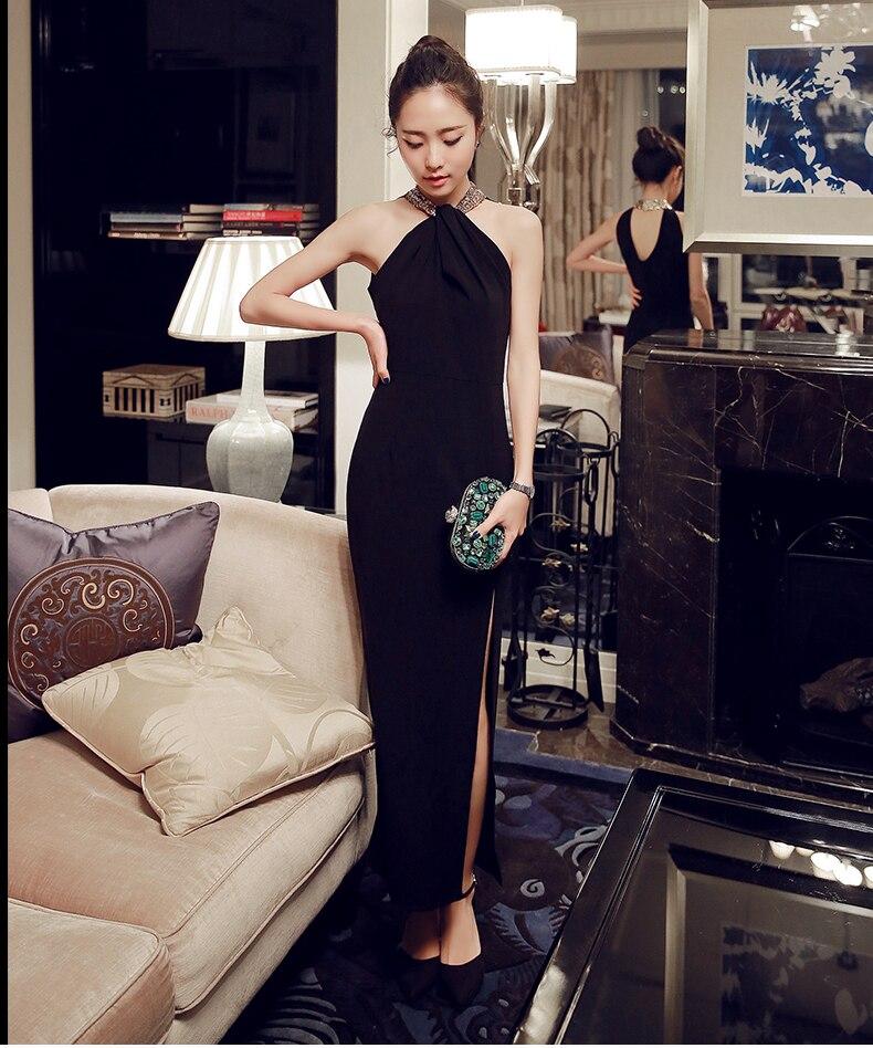 Изысканный черный Пятно Пром Платья Бедро Высокие Щели Блестящие Блестки Высокая Холтер Спинки Sexy Моды Платье Танец