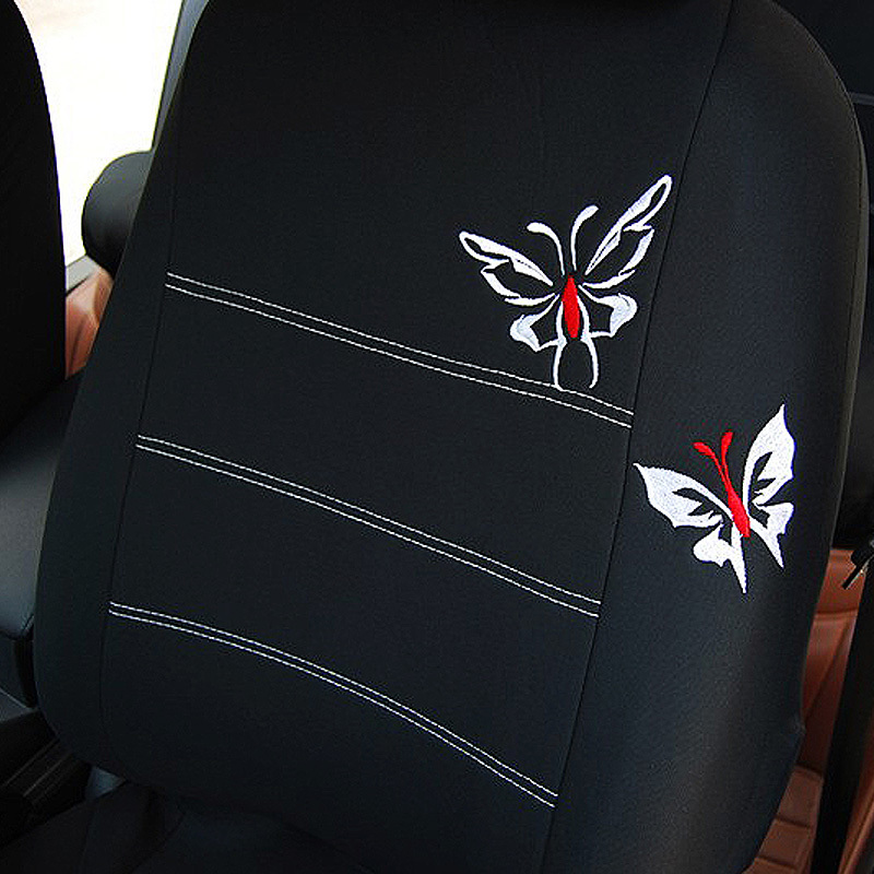 Image 3 - AUTOYOUTH Butterfly Embroidered Car Seat Cover Universal Fit Most Vehicles Seats Interior Accessories Black Seat Covers-in Automobiles Seat Covers from Automobiles & Motorcycles