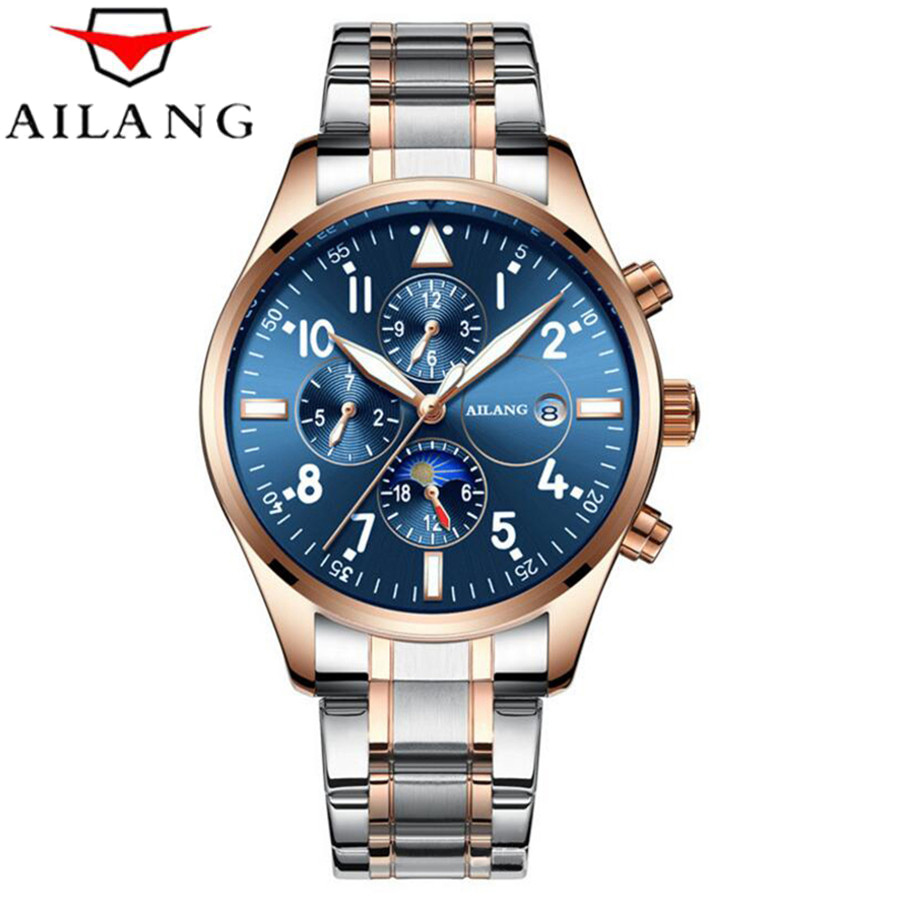 AILANG Mens Watches Top Brand Luxury Automatic Mechanical Watch Men Full Steel Business Waterproof Watches Relogio Masculino 2018 ailang sapphire automatic mechanical watch mens top brand luxury waterproof brown genuine leather watch relogio masculine