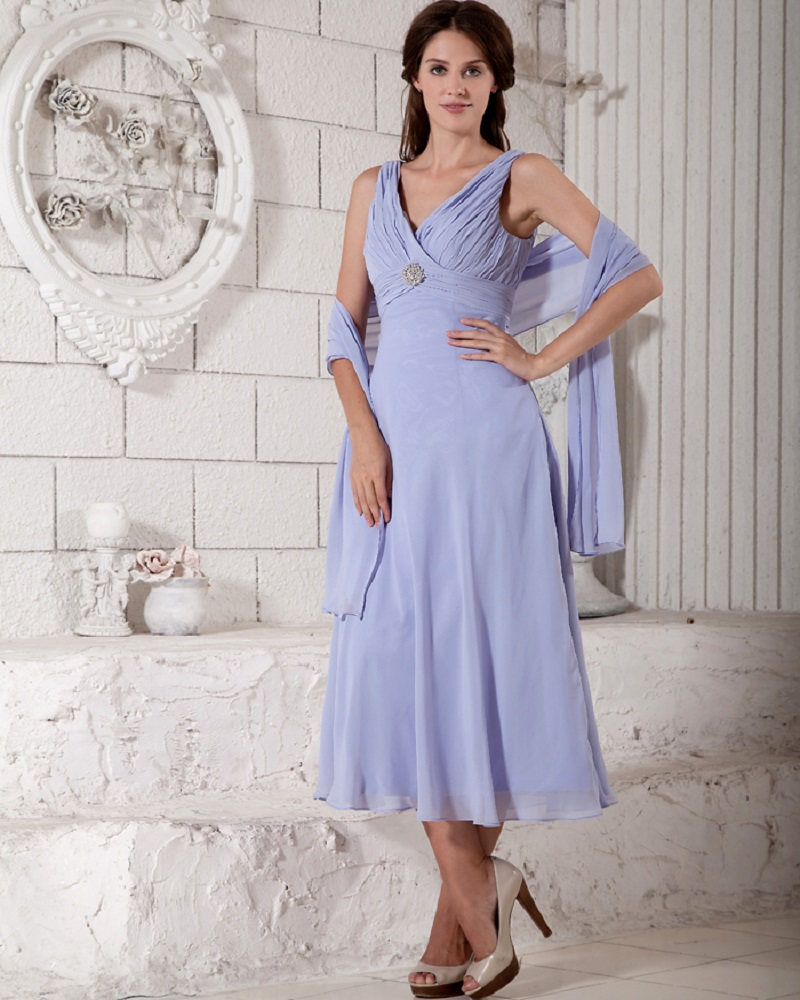 cf625a989 Tea Length Lavender Summer Chiffon Beach Mother Of The Bride Dresses With  Wrap Two Pieces Mother Bride Dresses-in Mother of the Bride Dresses from  Weddings ...