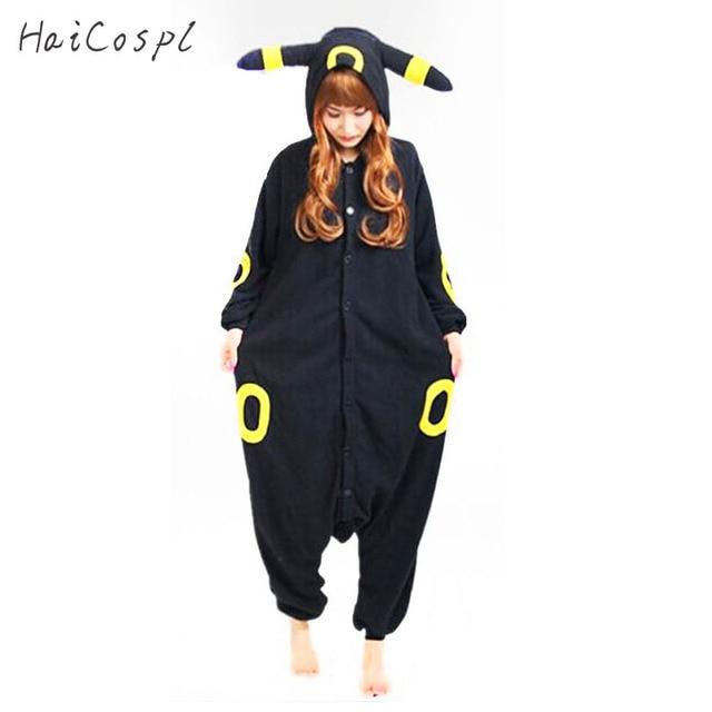 d6c1ac2dcc2a Umbreon Pajama Onesie Women Pocket Monster Eevee Anime Pokemon Cosplay  Costume Winter Black Warm Loose Nightwear
