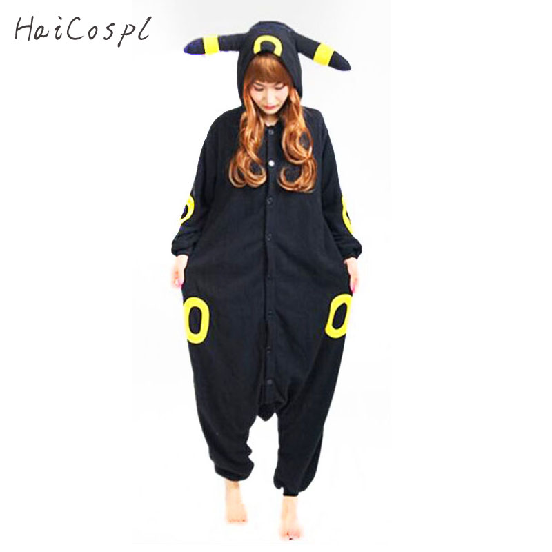 Umbreon Pajama Onesie Women Pocket Monster Eevee Anime Pokemon Cosplay Costume Winter Black Warm Loose Nightwear Party Kigurumi