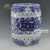 Chinese Blue And White Porcelain Lotus Flower Pattern Garden Drum Stool With Nail 16 Made In