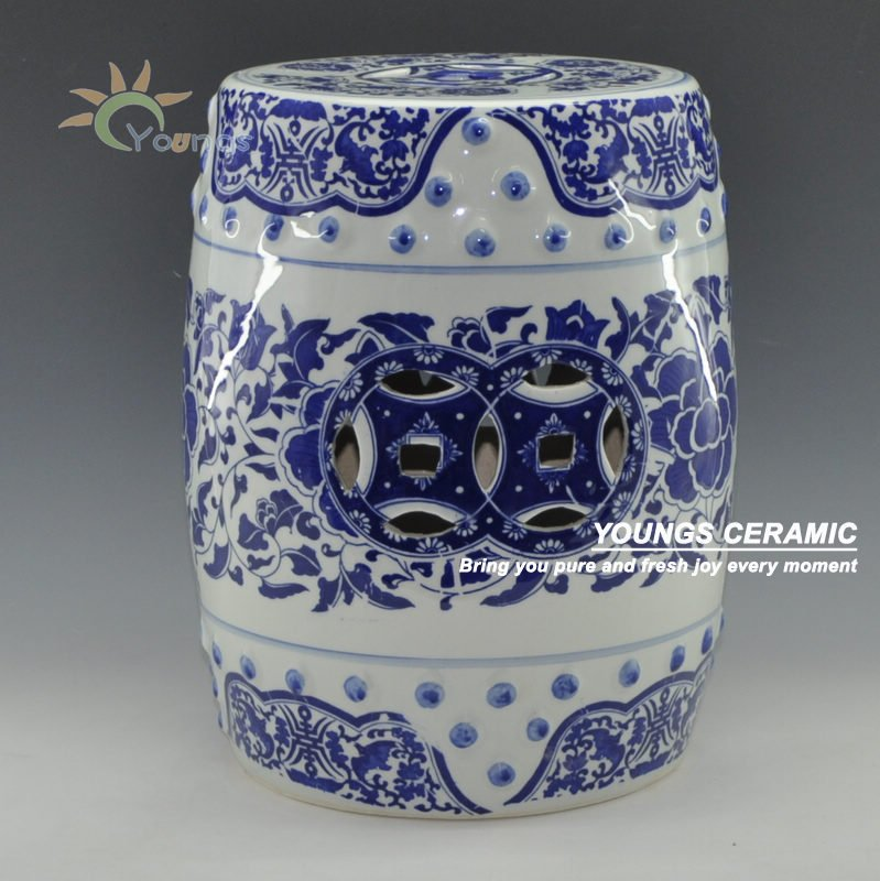 Chinese Blue And White Porcelain Lotus Flower Pattern Garden Drum Stool With Nail 16 39 39 Made In