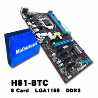 H81 6 GPU Mining Motherboard With 6Pcs PCI E Extender Riser Card Support DDR3 USB Computer
