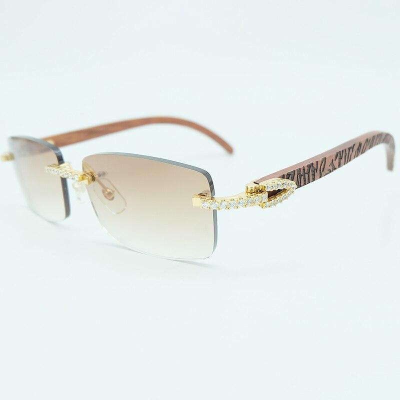 c9f8d0d8feb Rhinestone Square Sunglasses Luxury Wood Buffalo Horn 3mm Diamond Carter  Sun Glasses Fashion Mens Rimless Sunglass