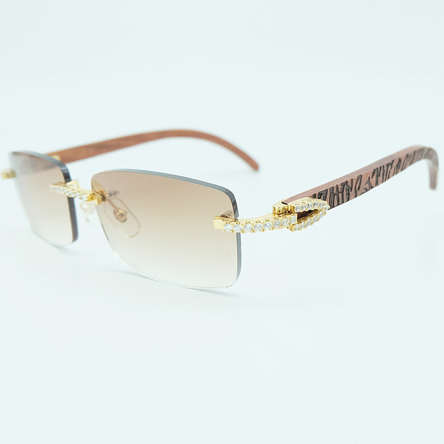 3b70e0c9b712 Rhinestone Square Sunglasses Luxury Wood Buffalo Horn 3mm Diamond Carter  Sun Glasses Fashion Mens Rimless Sunglass