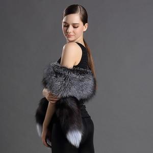Image 5 - Châles en vraie fourrure pour femmes, écharpe de luxe, Design queue de renard, châle, fourrure naturelle, 2018 véritable, nouvelle version 100%