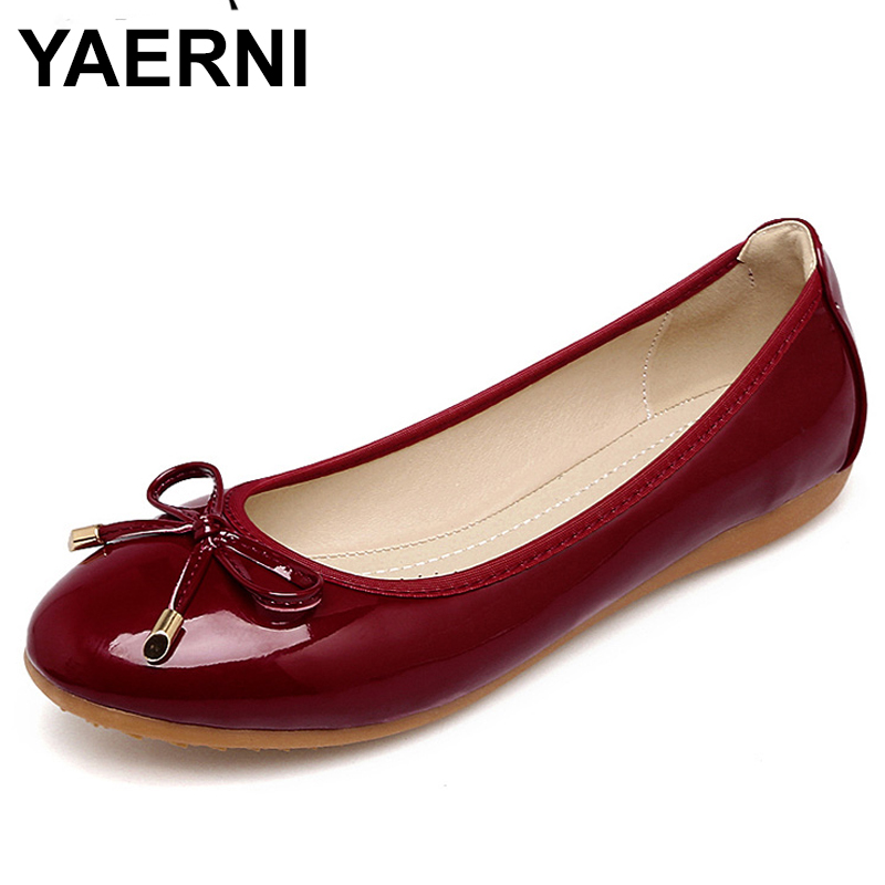 YAERNI Foldable Shoes Woman New Round Toe Women Flats Bowknot Shallow Mouth Women Shoes Spring Autumn Soft Sole E727 beyarne women s d orsay flats spring autumn pointed toe shallow mouth woman basic flats shoes ladies casual single shoes pink