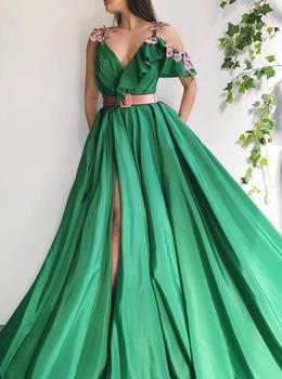 Green Muslim Evening Dresses 2019 A-line V-Neck Flowers Dubai Saudi Arabic Long Formal Evening Gown Prom