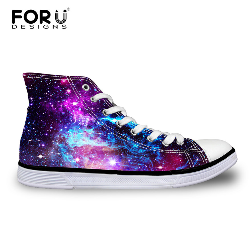 FORUDESIGNS Fashion Women Casual Galaxy Shoes Vulcanized High-Top & Low Canvas Shoes,Ladies Flats Female Lace-up Shoes for Girl