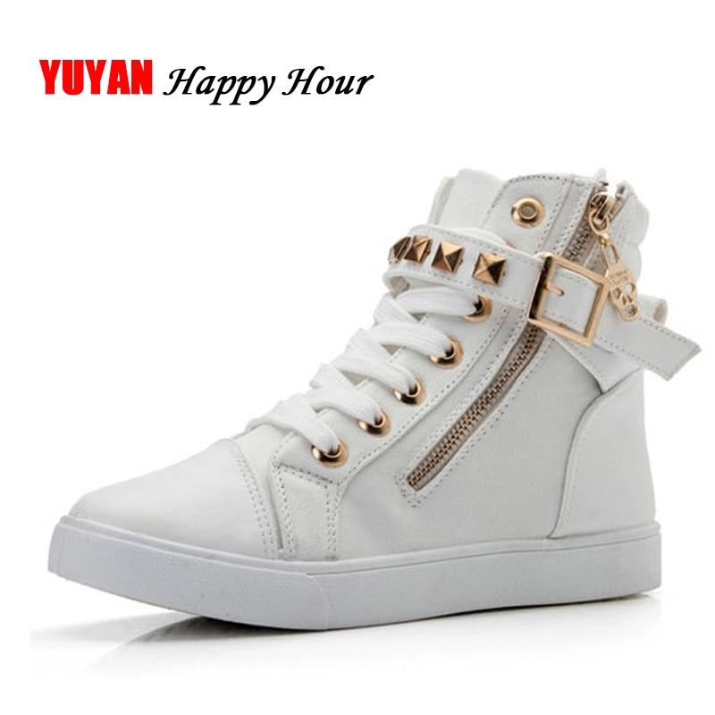 New 2018 High top Shoes Women Fashion Rivets Canvas Shoes Women's Casual Shoes Leopard Flowers ...