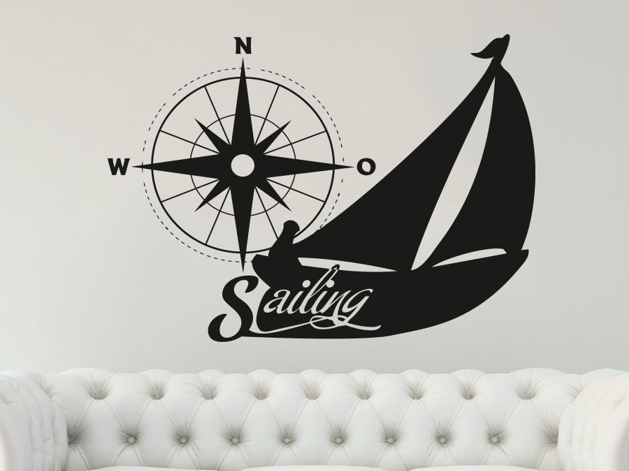 Wall Decal Sailing Vinyl Sticker Decals Compass Rose Nautical Decor Compass