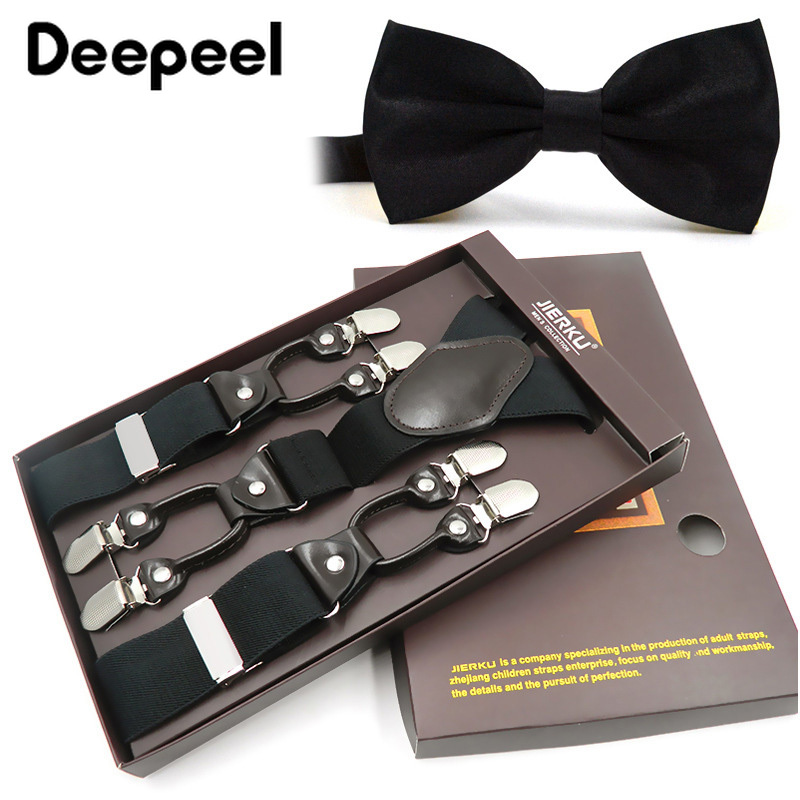 Deepeel 3.5*125cm Unisex Adult Suspenders Bow Sets High Elastic Strap Six-clip Men's Harness Bow Tie Adjustable Decoration SP003